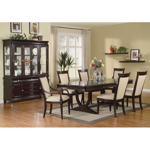 9 piece dining room furniture set in merlot cappuccino for Dining room furniture 9 piece